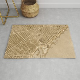 Vintage map of Barcelona in sepia Rug