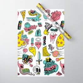 Weirdo Pizza Donut Sword Skull Pattern Wrapping Paper