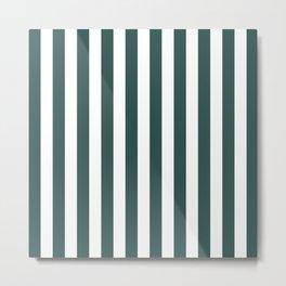 Vertical Stripes (Dark Green & White Pattern) Metal Print