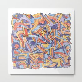 Party in Orange and Blue Metal Print