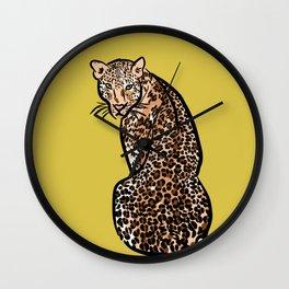 Jungle Cat   Green Yellow Wall Clock
