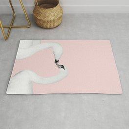 Blush Kiss - Swans in Love - Kissing Swans #1 #decor #art #society6 Rug