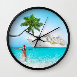 Christmas holidays on Caribbean cruise Wall Clock