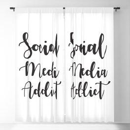 Social Media Addict, Funny Saying Blackout Curtain