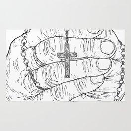 Praying hands - Crucifix - Jesus - Pray the rosary - Faith Rug