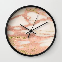 Marble - Rose Gold Shimmer Marble with Yellow Gold Glitter Wall Clock