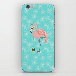 Walkman Flamingo with Hibiscus iPhone Skin