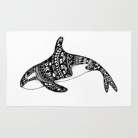 killer whale Area & Throw Rugs featuring Killer Whale by Emma Barker