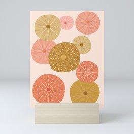Sea Urchins in Coral + Gold Mini Art Print