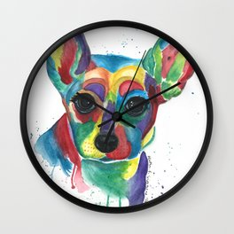 Roxy Colorful Rat Terrier Wall Clock
