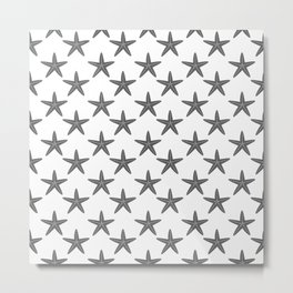 Starfishes (Grey & White Pattern) Metal Print