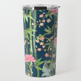 Bamboo, Birds and Blossom - dark teal Travel Mug