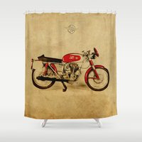 sport Shower Curtains featuring Ducati Sport 1954 by Larsson Stevensem