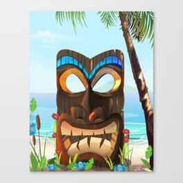 Carved wooden face Canvas Print