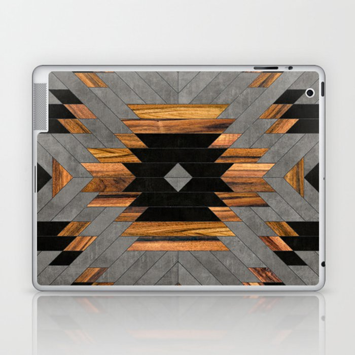 Urban Tribal Pattern No.6 - Aztec - Concrete and Wood Laptop & iPad Skin