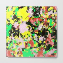 psychedelic geometric circle and square pattern abstract in green pink yellow black Metal Print