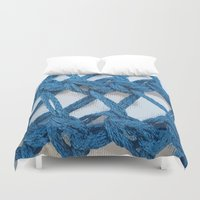 knitting Duvet Covers featuring Blue Knitting by Susan Messier Designs