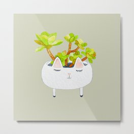 Kawaii succulents Metal Print
