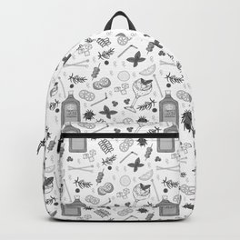 Gin Cocktail Bar Black and White Pattern Backpack