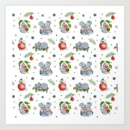 New Year Watercolor Mouses Pattern Art Print