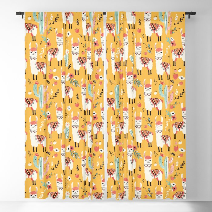 White Llama with flowers Blackout Curtain