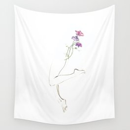 Sweet Pea, Drawing of Legs, Flowers, Curves, Purple, Art, Wall Art, Buy Art, Contour Lines, Abstract Wall Tapestry