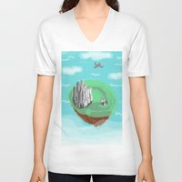 castle in the sky V-neck T-shirts featuring Sky Castle by wkdowd