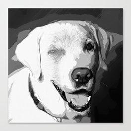 labrador retriever dog winking vector art black white Canvas Print