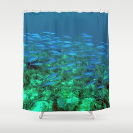 Blue Fish Exodus Shower Curtain