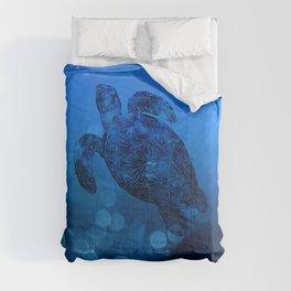 Sea Turtle In Deep Blue Water Comforters