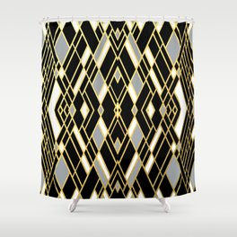 Art Deco Grey Gold Shower Curtain