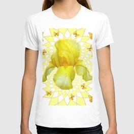 YELLOW BUTTERFLIES & YELLOW IRIS WHITE PATTERN ART T-shirt