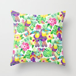 Tropical Toucans in Watercolor White Throw Pillow