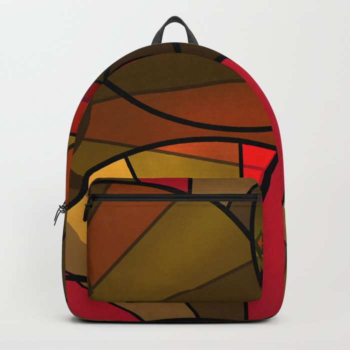 Red brown yellow black abstract pattern. Cycle . Backpack