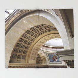 Wisconsin Capitol Building Arches And Angles Throw Blanket