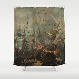 Battle of Gibraltar in 1607, Cornelis Claesz. van Wieringen (1621) Shower Curtain