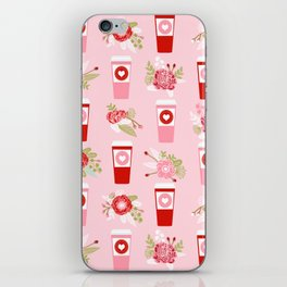 Coffee valentines day florals cute coffee lovers gifts that say i love you iPhone Skin