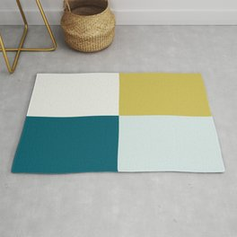 Minimal Geometric Shape Pattern Dark Teal, Pale Blue, Golden Yellow and Off- White Inspired by Sherwin Williams 2020 Trending Color Oceanside SW6496 Rug