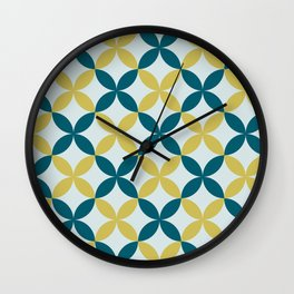 Dark Teal, Pale Blue and Dark Yellow 4 Leaf Minimal Flower Petal Pattern 2 Inspired by Sherwin Williams 2020 Trending Color Oceanside SW6496 Wall Clock