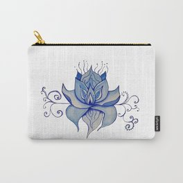 Watercolor Blue Lotus Carry-All Pouch