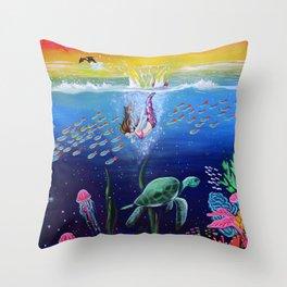 Rainbow Diving Throw Pillow