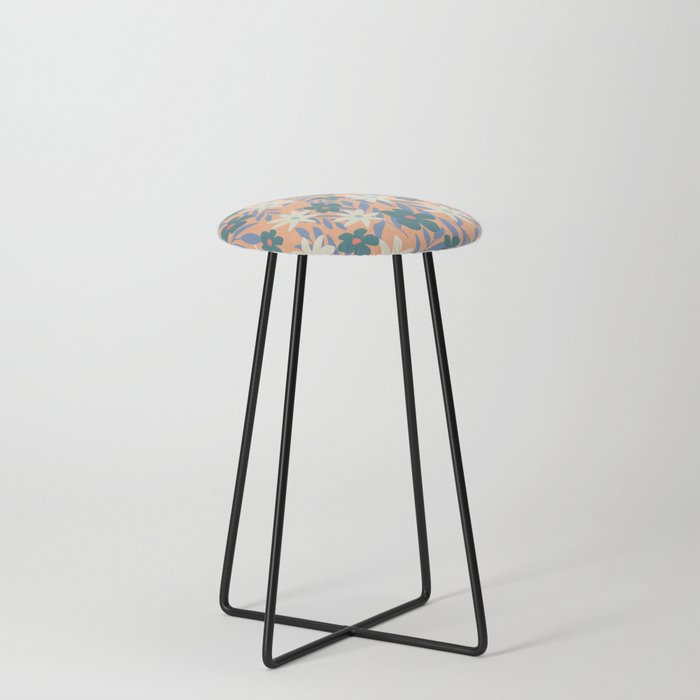 Just Peachy Floral Counter Stool