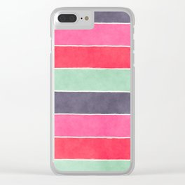 Geometric modern pink coral mint gray watercolor pattern Clear iPhone Case