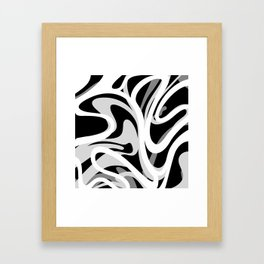 Finger Paint Swirls - Gray, Black and White Framed Art Print