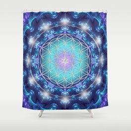 Flower Of Life Mandala Fractal turquoise Shower Curtain
