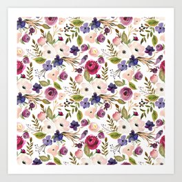 Violet pink yellow green watercolor modern floral pattern Art Print