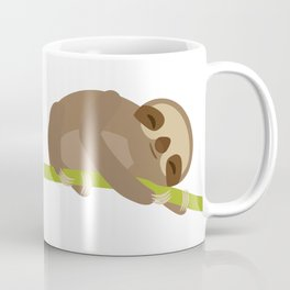 funny and cute Three-toed sloth on green branch Coffee Mug