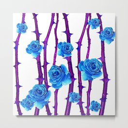 BABY BLUE ROSES &  PURPLE THORN CANES Metal Print