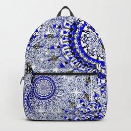 Grey Glittering Blue Snowflake Mandala Textile Backpack