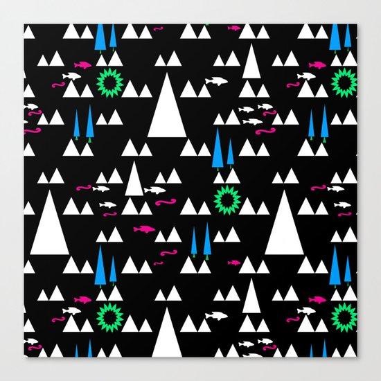 Ethnic simple pattern . Black . Canvas Print